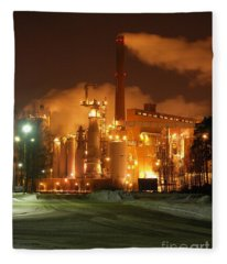 Sunila Pulp Mill By Winter Night Fleece Blanket