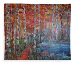 Sunlit Birch Pathway Fleece Blanket
