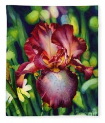 Sunlit Iris Fleece Blanket