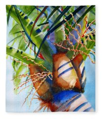 Sunlit Palm Fleece Blanket