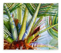 Sunlit Palm Fronds Fleece Blanket
