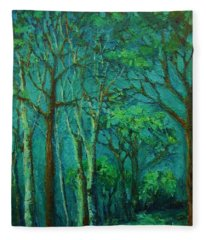Sunlit Woodland Path Fleece Blanket