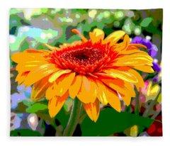 Sunny Gerbera Fleece Blanket