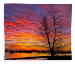 Sunrise In The Sacramento Valley Fleece Blanket