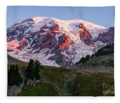 Sunrise Mt Rainier Fleece Blanket
