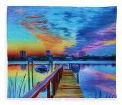 Sunrise On The Dock Fleece Blanket