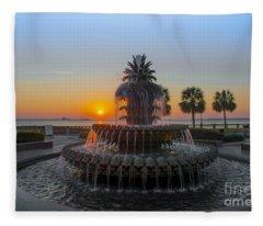 Sunrise Over Charleston Fleece Blanket
