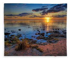 Sunrise Over Lake Michigan Fleece Blanket