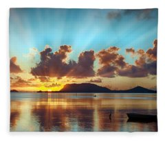 Sunrise Over Marine Corps Base Hawaii Fleece Blanket
