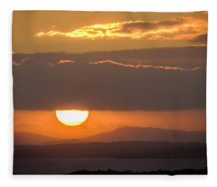 Sunrise Over River Shannon Fleece Blanket
