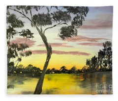 Sunrise Over The Murray River At Lowson South Australia Fleece Blanket