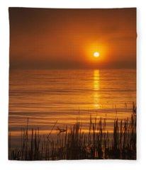 Sunrise Through The Fog Fleece Blanket