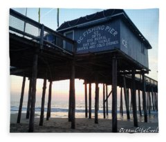 Sunrise Under The Oc Fishing Pier Fleece Blanket