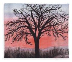 November Sunrise Walnut Tree Watercolor Fleece Blanket