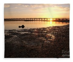 Sunset And Wooden Bridge In Ludo Fleece Blanket