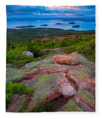 Sunset At Cadillac Mountain Fleece Blanket
