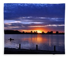 Sunset At Creve Coeur Park Fleece Blanket