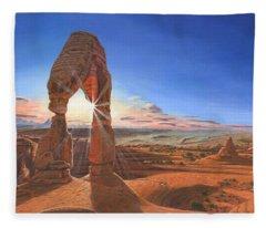 Sunset At Delicate Arch Utah Fleece Blanket