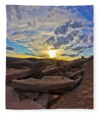 Sunset At Enchanted Rock State Natural Area Fleece Blanket