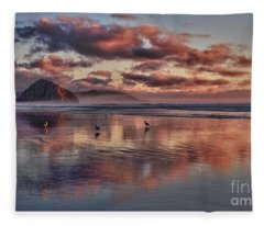Sunset At Morro Strand Fleece Blanket