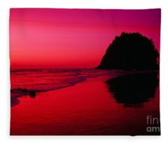 Sunset At Neskowin Beach- Proposal Rock Fleece Blanket