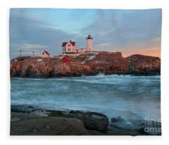 Sunset At Nubble Lighthouse Fleece Blanket
