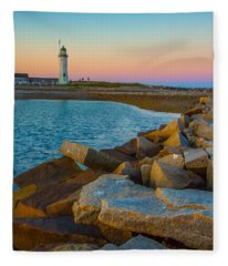 Sunset At Old Scituate Lighthouse Fleece Blanket