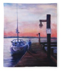 Sunset At Rocky Point Fleece Blanket