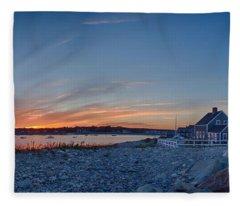 Sunset At Scituate Light Fleece Blanket