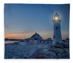 Sunset At Scituate Light Fleece Blanket