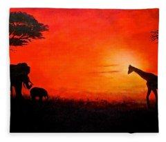 Sunset At Serengeti Fleece Blanket