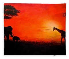 Sunset At Serengeti Fleece Blanket
