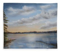 Sunset At Sparta Lake New Jersey Fleece Blanket