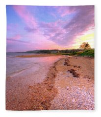sunset at Stanley Beach. Fleece Blanket