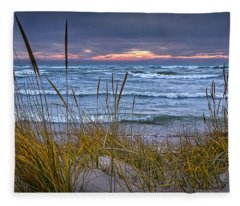 Sunset On The Beach At Lake Michigan With Dune Grass Fleece Blanket