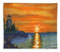 Sunset At The Lighthouse Fleece Blanket