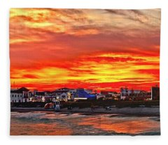 Sunset At The Music Pier Fleece Blanket