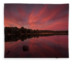 Sunset At The Pond Fleece Blanket