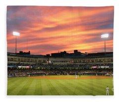 Sunset At Toledo Mudhens Game 5358b Fleece Blanket