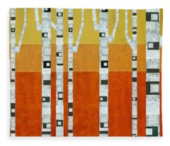 Sunset Birches Fleece Blanket