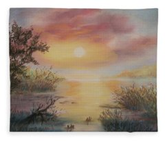 Sunset By The Lake Fleece Blanket