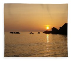 Sunset Crooklets Beach Bude Cornwall Fleece Blanket
