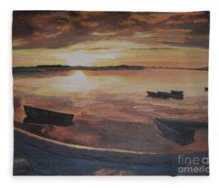 Sunset Evening Tide Fleece Blanket