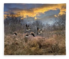 Sunset Geese Fleece Blanket