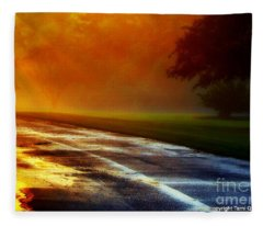 Sunset Glint In The Mist Fleece Blanket