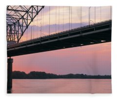 Sunset, Hernandez Desoto Bridge And Fleece Blanket