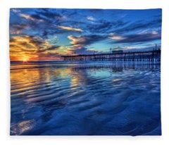 Sunset In Blue Fleece Blanket