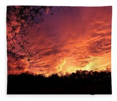 Sunset In Blue Ridge Foothills Fleece Blanket