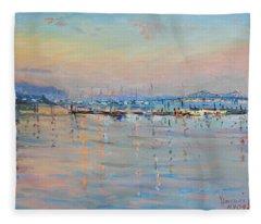 Sunset In Piermont Harbor Ny Fleece Blanket
