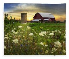 Sunset Lace Pastures Fleece Blanket